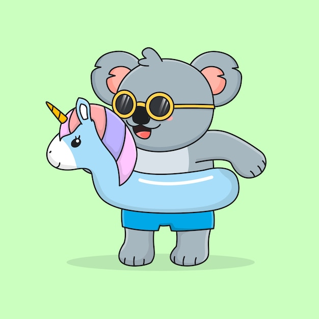 Cute koala with swim ring unicorn and sunglasses Premium Vector