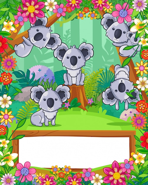 Cute koalas with flowers and wood blank sign in the forest. vector Premium Vector