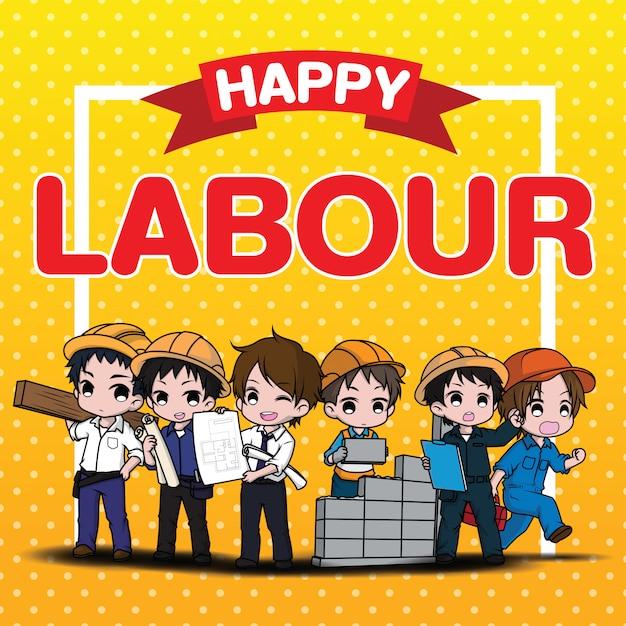 Cute labour cartoon character Premium Vector