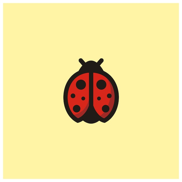 Cute ladybug clip art icon logo Premium Vector
