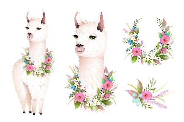 野生の花とかわいいラマのリアルなベクターキャラクターデザイン。芸術的な植物の自由奔放な動物のデザイン、手描きのラマイラストクリップアート、水彩風のベクトルデザイン。 Premiumベクター