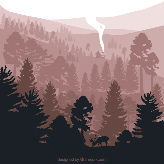 Cute landscape with pine silhouettes Vector | Free Download