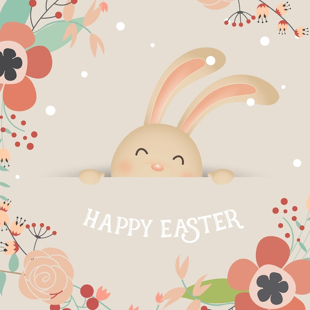 Cute laughing easter bunny with flowers Free Vector