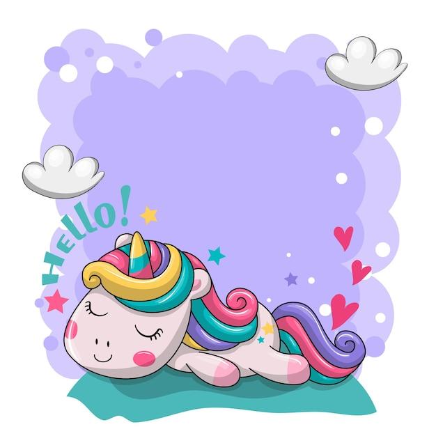 귀여운 게으른 아기 유니콘 그림입니다. 프리미엄 벡터