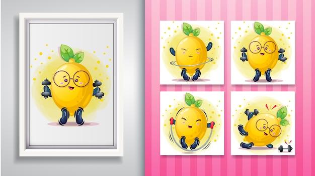 Cute lemon illustration set and decorative frame. Premium Vector