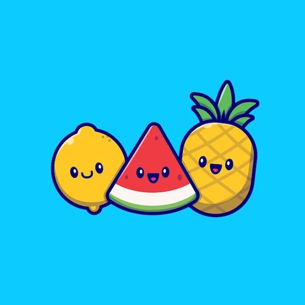 Симпатичные лимон, арбуз и ананас мультфильм векторные иллюстрации. летние тропические фрукты концепция изолированных вектор. плоский мультяшном стиле Бесплатные векторы