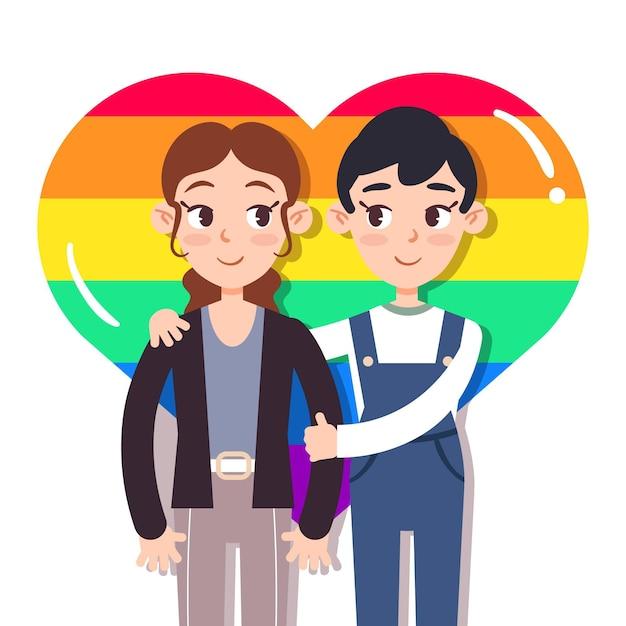 Милые лесбиянки пара иллюстрировано Бесплатные векторы