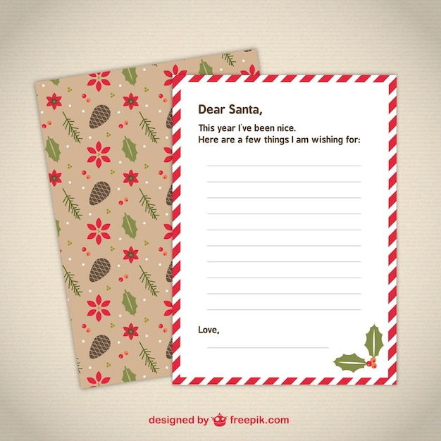 cute letter template to santa vector free download