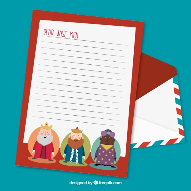 Cute letter to the wise men Free Vector
