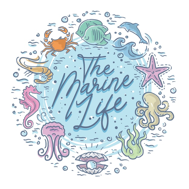Cute lettering and animals of marine life Premium Vector