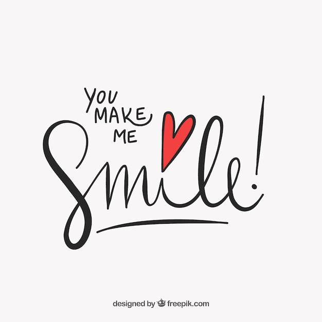 Cute Lettering You Make Me Smile Vector Free Download