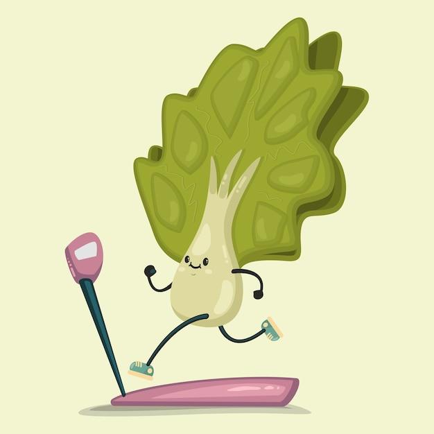 디딜 방 아에서 운동을하는 귀여운 양상추. 배경에 고립. 건강하고 건강하게 먹기. 프리미엄 벡터