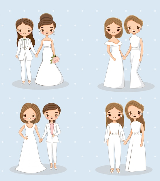 Cute lgbt wedding couple character collections set Premium Vector
