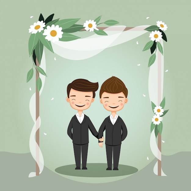 Cute lgbt wedding couple for invitations card Premium Vector