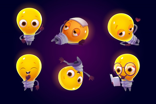 Cute light bulb character in different poses Free Vector