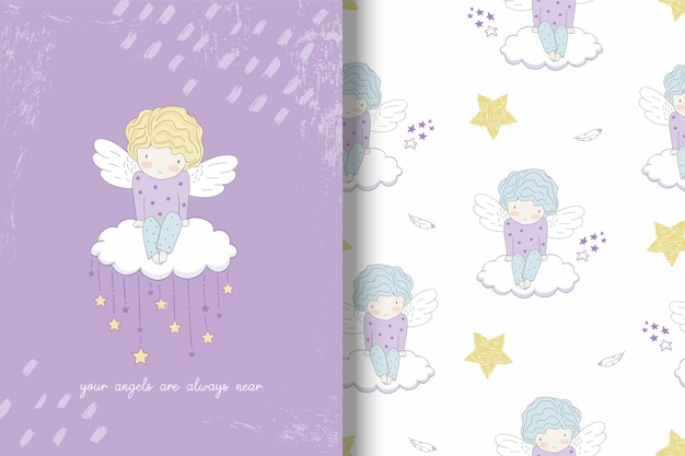 Cute liitle angel on the cloud and pattern Premium Vector