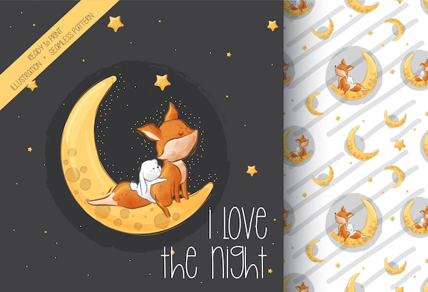 Cute liitle fox  bunny on the moon seamless pattern Premium Vector