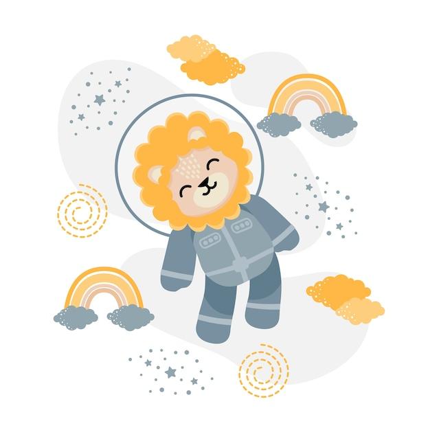 귀여운 사자 우주 비행사 만화 낙서 그림 프리미엄 벡터