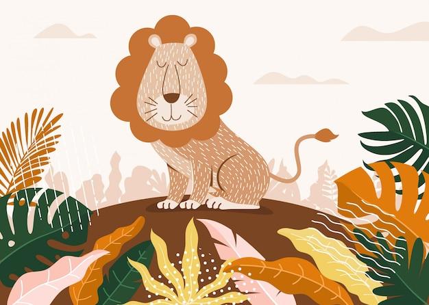 Милый лев мультфильм между джунглями с листьями и деревьями. Premium векторы