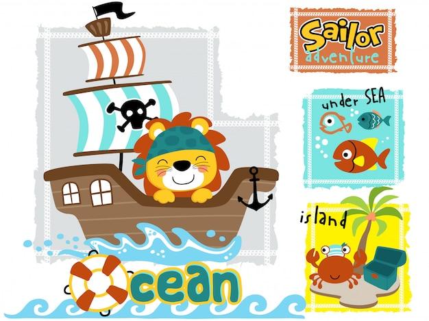 Cute lion cartoon on sailboat with marine animals Premium Vector