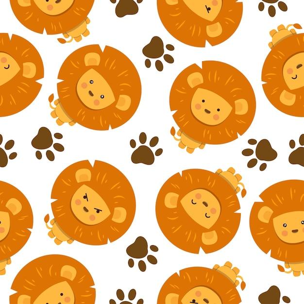 足跡とかわいいライオンの漫画のシームレスなパターン Premiumベクター