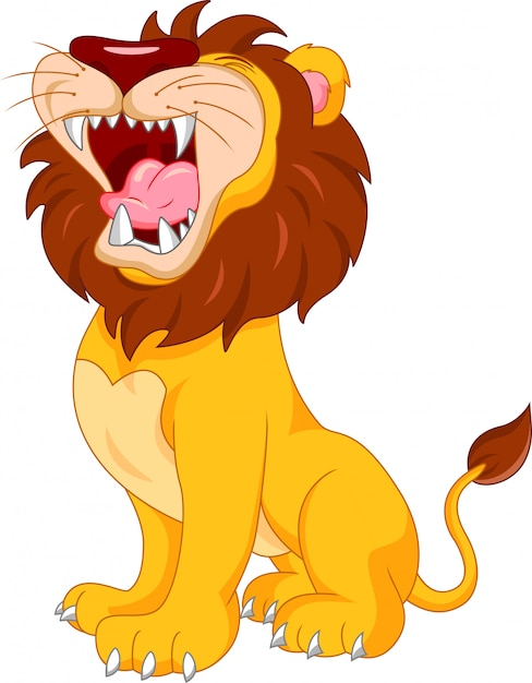 Cute lion cartoon Premium Vector