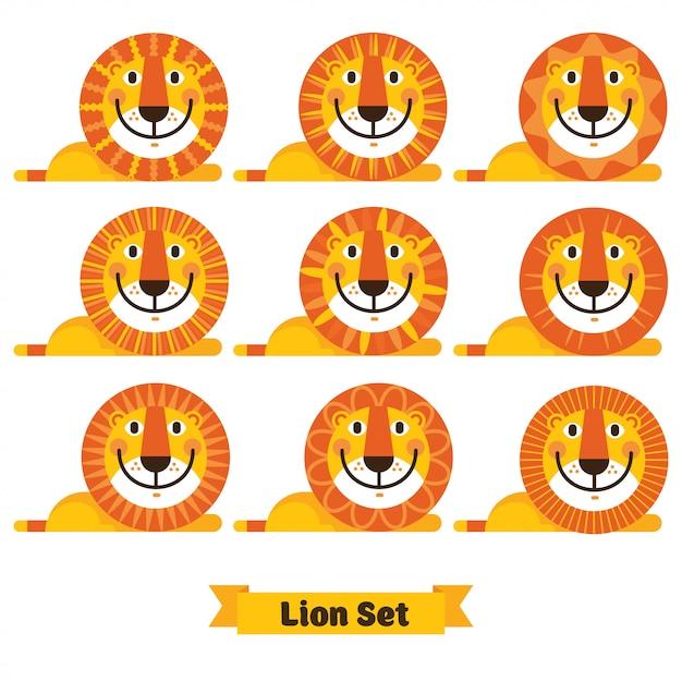 さまざまなヘアスタイルでかわいいライオンの顔 Premiumベクター