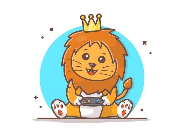 Cute lion king gaming mascot vector icon illustration Premium Vector