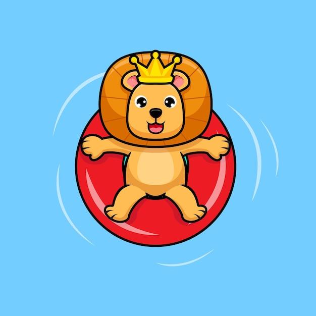 수영장 디자인 아이콘 그림에서 편안한 귀여운 라이온 킹 프리미엄 벡터