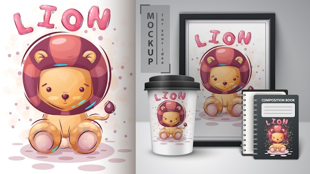 Cute lion poster and merchandising Premium Vector