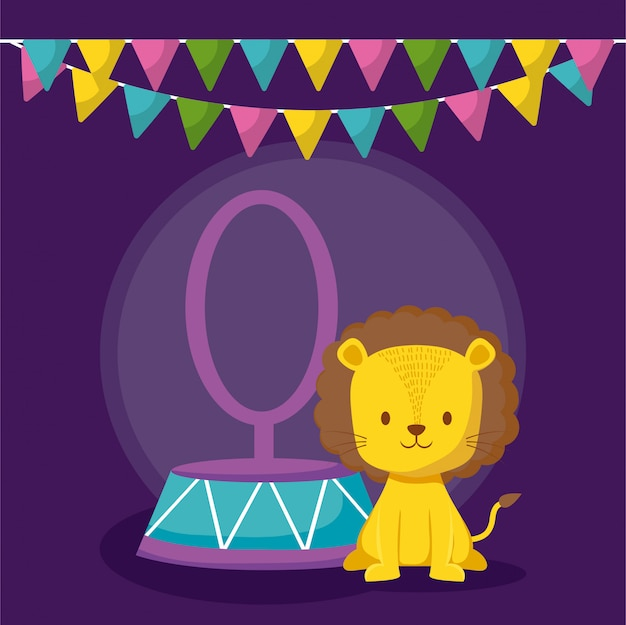 Cute lion in ring with garlands icon Premium Vector
