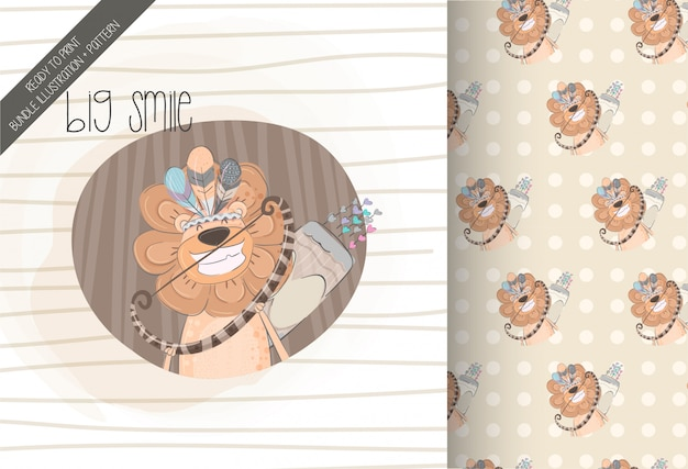 Cute lion tribal with seamless pattern Premium Vector