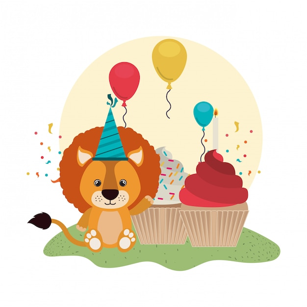 Cute lion with cake of happy birthday Vector | Premium Download