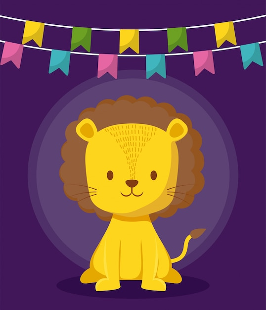 Cute lion with garlands icon Premium Vector
