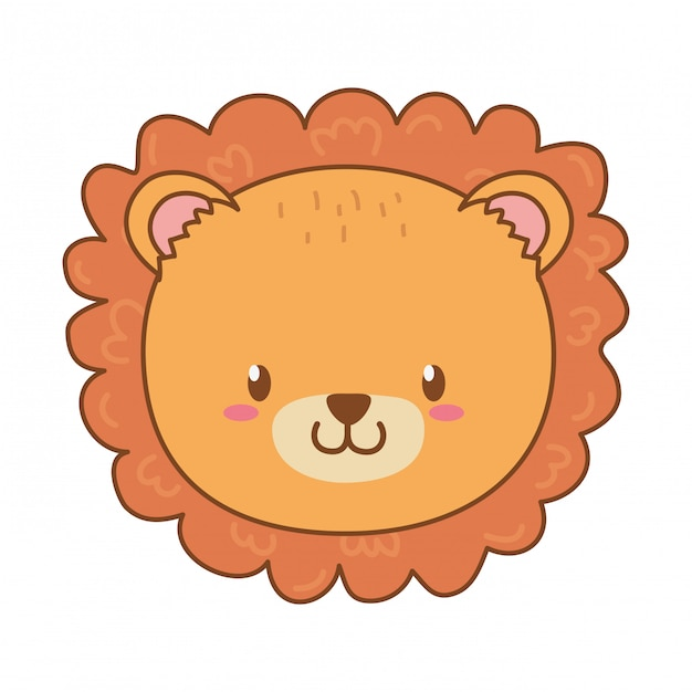 Cute lion woodland character Premium Vector