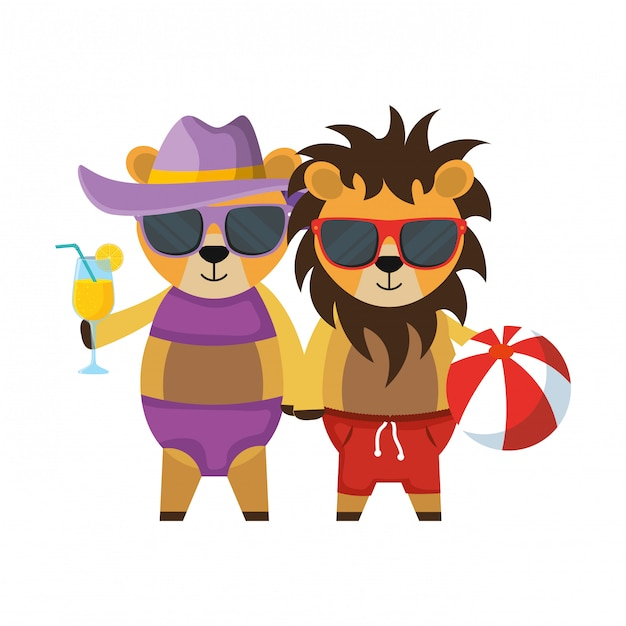 Cute lions couple with cocktail and balloon plastic toy Premium Vector