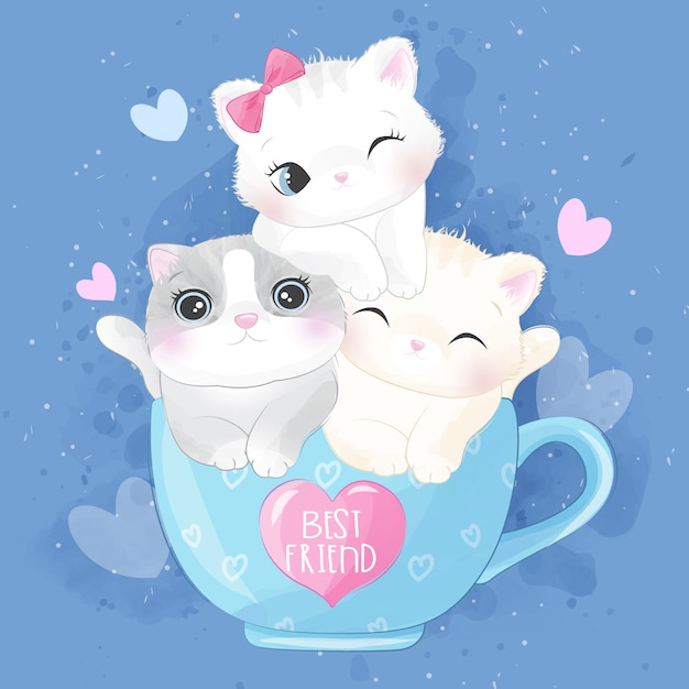 Cute litter kitty inside the cup illustration Premium Vector