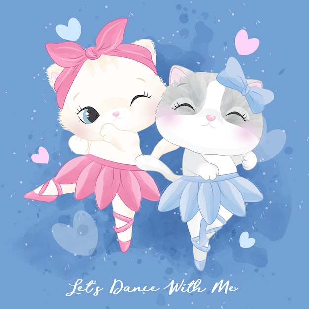 Cute litter kitty with ballet dancing illustration Premium Vector