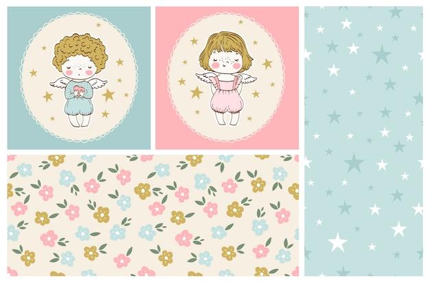 Симпатичные маленькие ангелочки из коллекции мальчик и девочка с бесшовными узорами Premium векторы