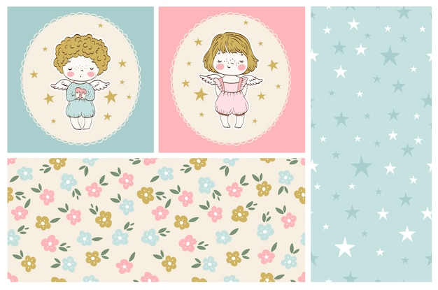 Cute little angels collection boy and girl with seamless patterns Premium Vector