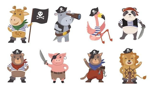 Симпатичные маленькие животные пираты плоский набор иллюстрации. мультяшные моряки как забавный лев, фламинго, свинья, кошка, жираф, панда изолировали коллекцию векторных иллюстраций. талисманы и принты для детской концепции Бесплатные векторы
