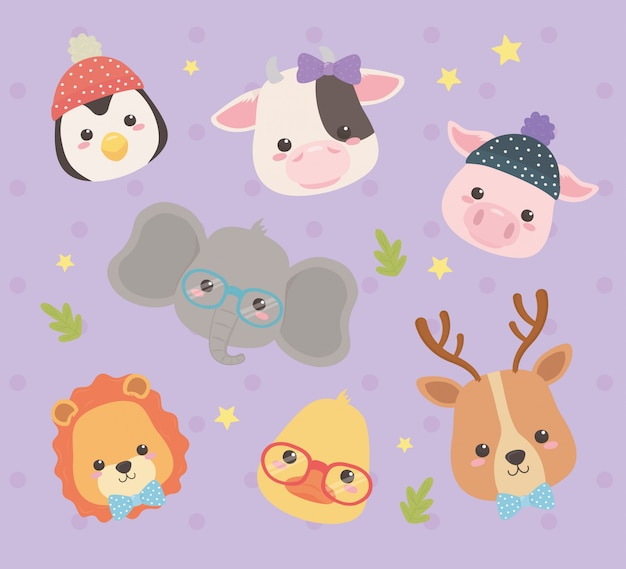 Cute and little animals characters Premium Vector