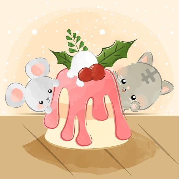 Cute little animals and delicious cake Premium Vector