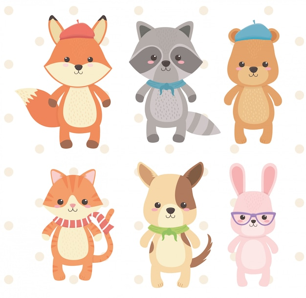 Cute and little animals group characters Premium Vector