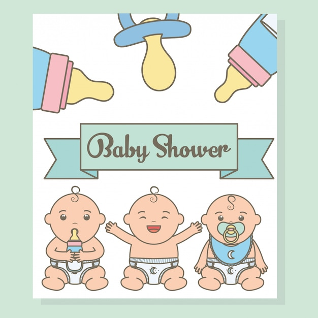 Cute little babies boys with bottle milk characters Free Vector