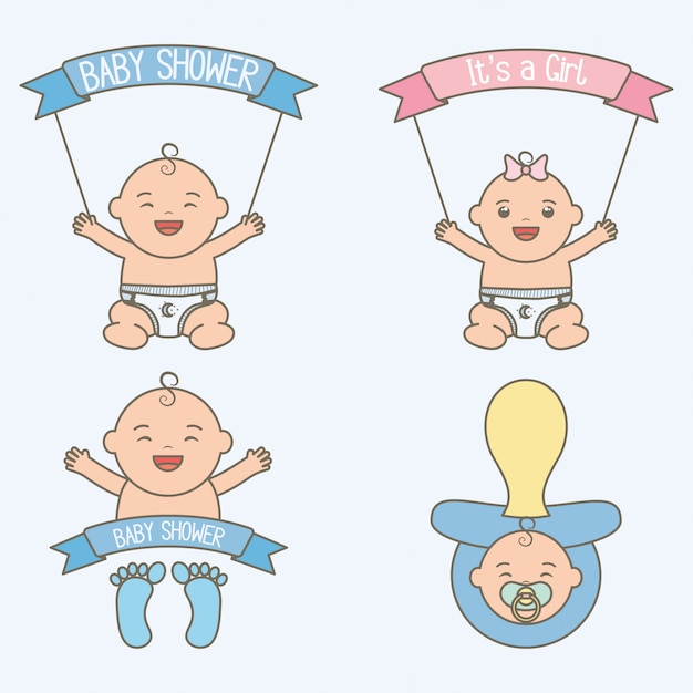 Cute little babies kids with ribbons frame Free Vector