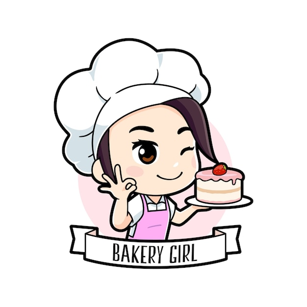 Cute little bakery chef girl logo Premium Vector