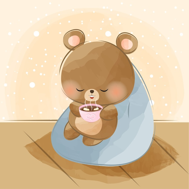 Cute little bear and hot chocolate Premium Vector