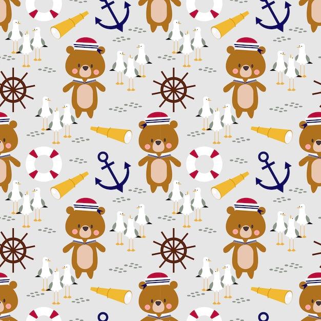 Cute little bear sailor seamless pattern. Premium Vector