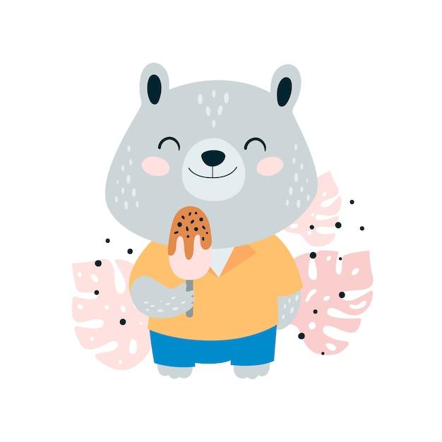 Cute little bear with ice cream in jungle Premium Vector